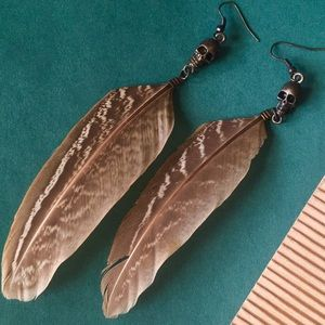 NWOT UO Feather drop earrings